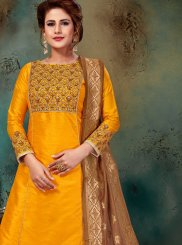 Art Silk Yellow Readymade Suit