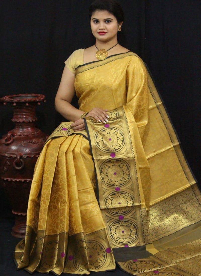 Art Silk Yellow Traditional Saree