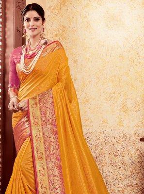 Art Silk Yellow Weaving Designer Traditional Saree