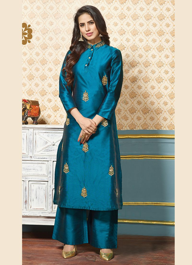 Art Silk Zari Blue Party Wear Kurti