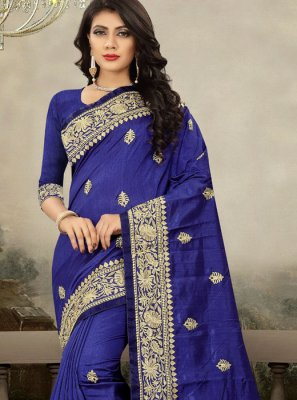 Art Silk Zari Blue Traditional Designer Saree
