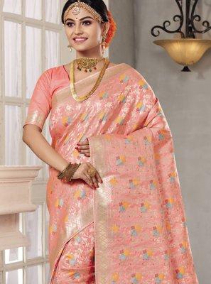 Art Silk Zari Peach Classic Saree