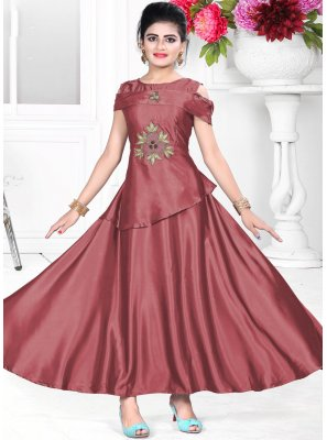 Attractive Red Color Designer Gown With Handwork