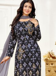 Ayesha Takia Blue Cotton Satin Designer Straight Suit
