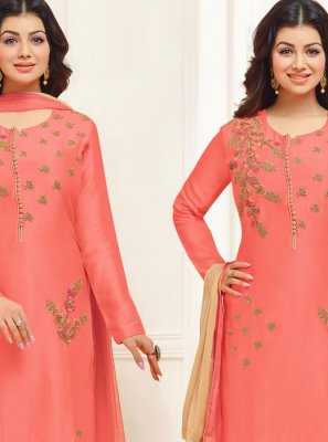 Ayesha Takia Embroidered Pink Cotton Satin Designer Straight Suit