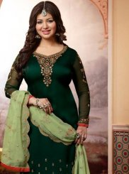 Ayesha Takia Georgette Satin Ceremonial Churidar Designer Suit