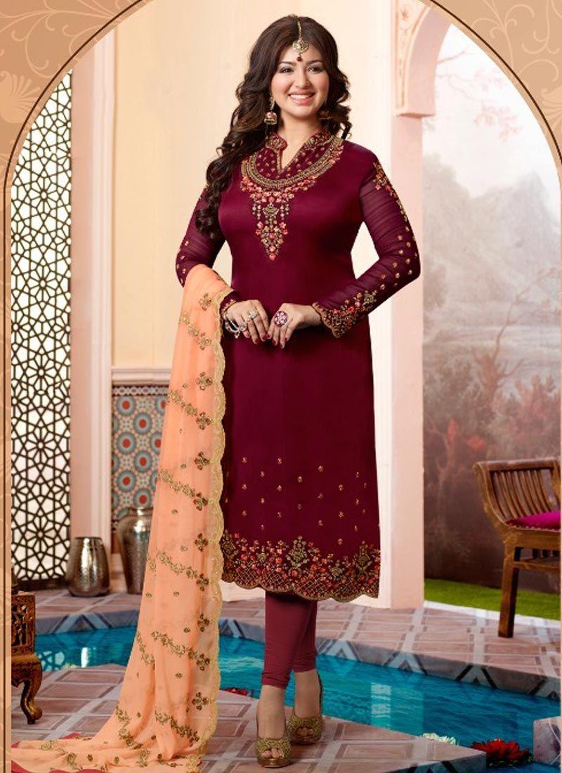 Ayesha Takia Georgette Satin Churidar Designer Suit