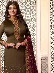 Ayesha Takia Green Embroidered Churidar Designer Suit