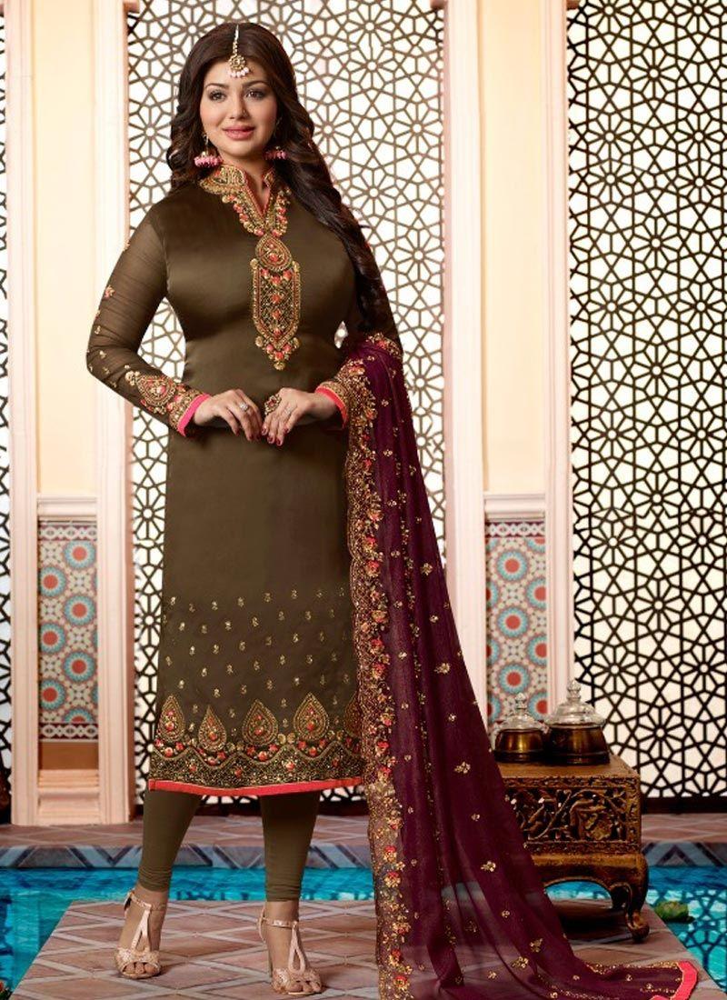 Ayesha Takia Green Embroidered Churidar Designer Suit