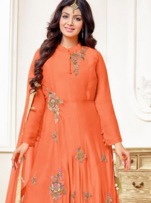 Ayesha Takia Orange Embroidered Floor Length Anarkali Suit