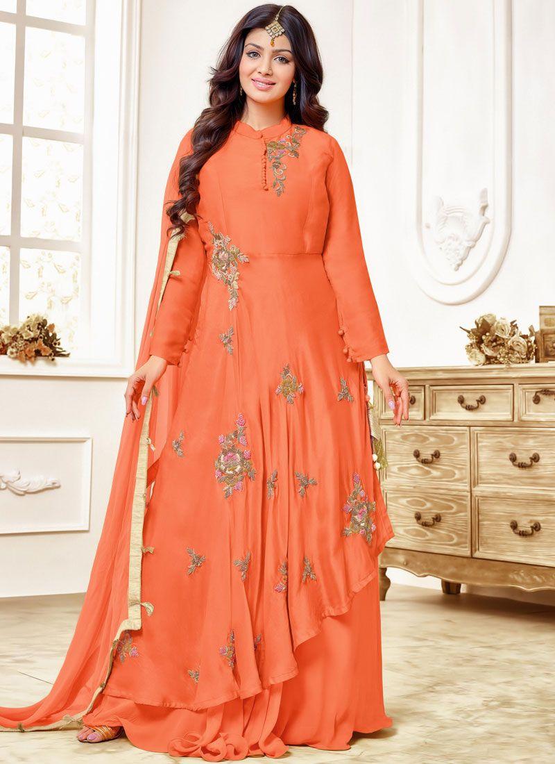 Ayesha Takia Orange Embroidered Floor Length Anarkali Suit