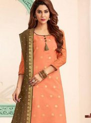 Banarasi Silk Abstract Print Trendy Churidar Suit in Orange