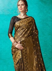 Banarasi Silk Black Weaving Trendy Saree
