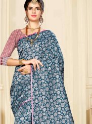 Banarasi Silk Blue Designer Saree
