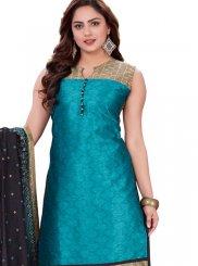 Banarasi Silk Blue Print Churidar Suit
