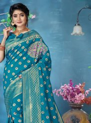 Banarasi Silk Blue Woven Silk Saree