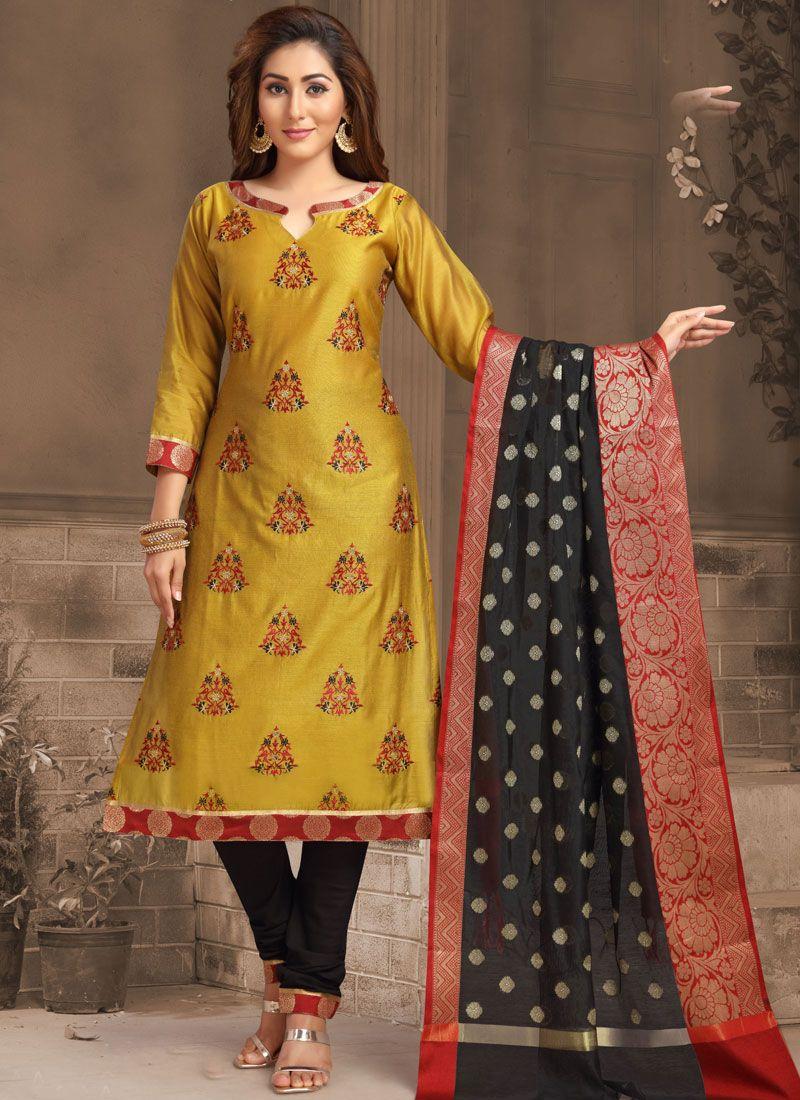 Banarasi Silk Ceremonial Churidar Designer Suit