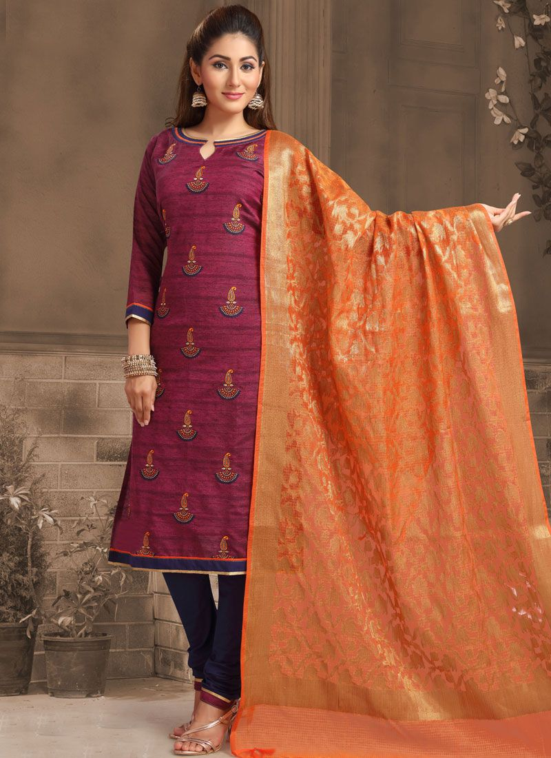 Banarasi Silk Churidar Designer Suit in Wine