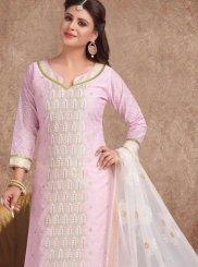 Banarasi Silk Churidar Suit in Pink