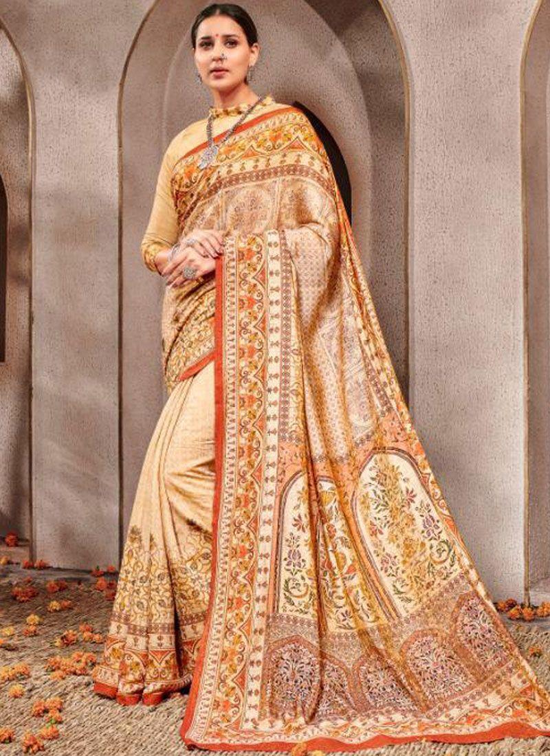 Banarasi Silk Cream Traditional Saree