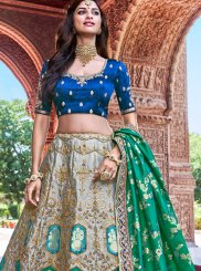 Banarasi Silk Embroidered Designer A Line Lehenga Choli in Grey