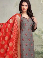 Banarasi Silk Embroidered Grey Churidar Salwar Kameez