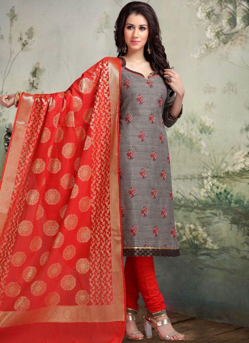 Banarasi Silk Embroidered Grey Churidar Salwar Kameez