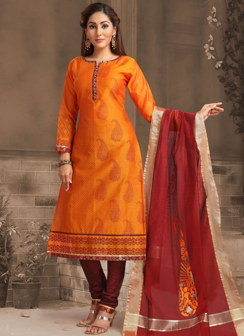 Banarasi Silk Embroidered Orange Churidar Designer Suit