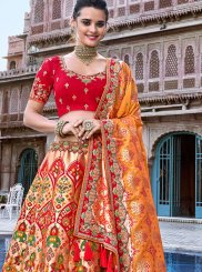 Banarasi Silk Embroidered Peach Designer A Line Lehenga Choli