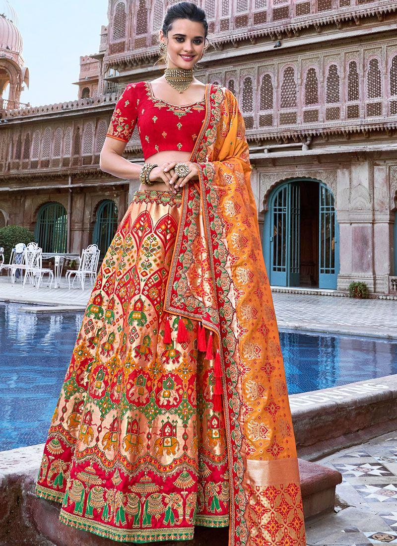 Banarasi Silk Embroidered Peach Designer A Line Lehenga Choli