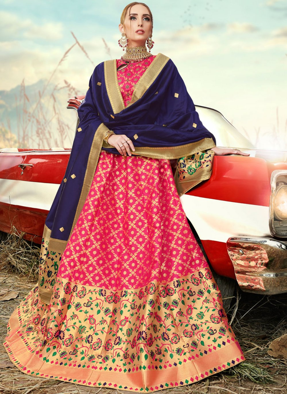 Banarasi Silk Embroidered Rose Pink A Line Lehenga Choli