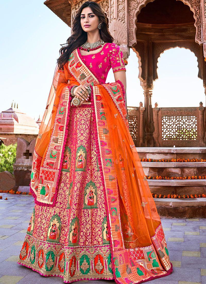 Banarasi Silk Embroidered Trendy A Line Lehenga Choli