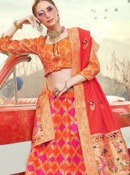 Banarasi Silk Embroidered Trendy A Line Lehenga Choli in Orange and Pink