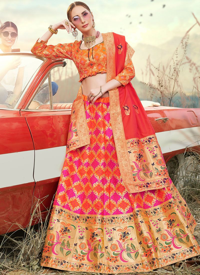 Banarasi Silk Embroidered Trendy A Line Lehenga Choli in Orange and Pink