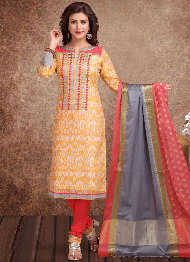 Banarasi Silk Gold Churidar Salwar Suit