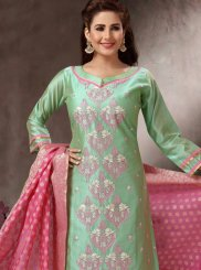 Banarasi Silk Green Churidar Salwar Kameez