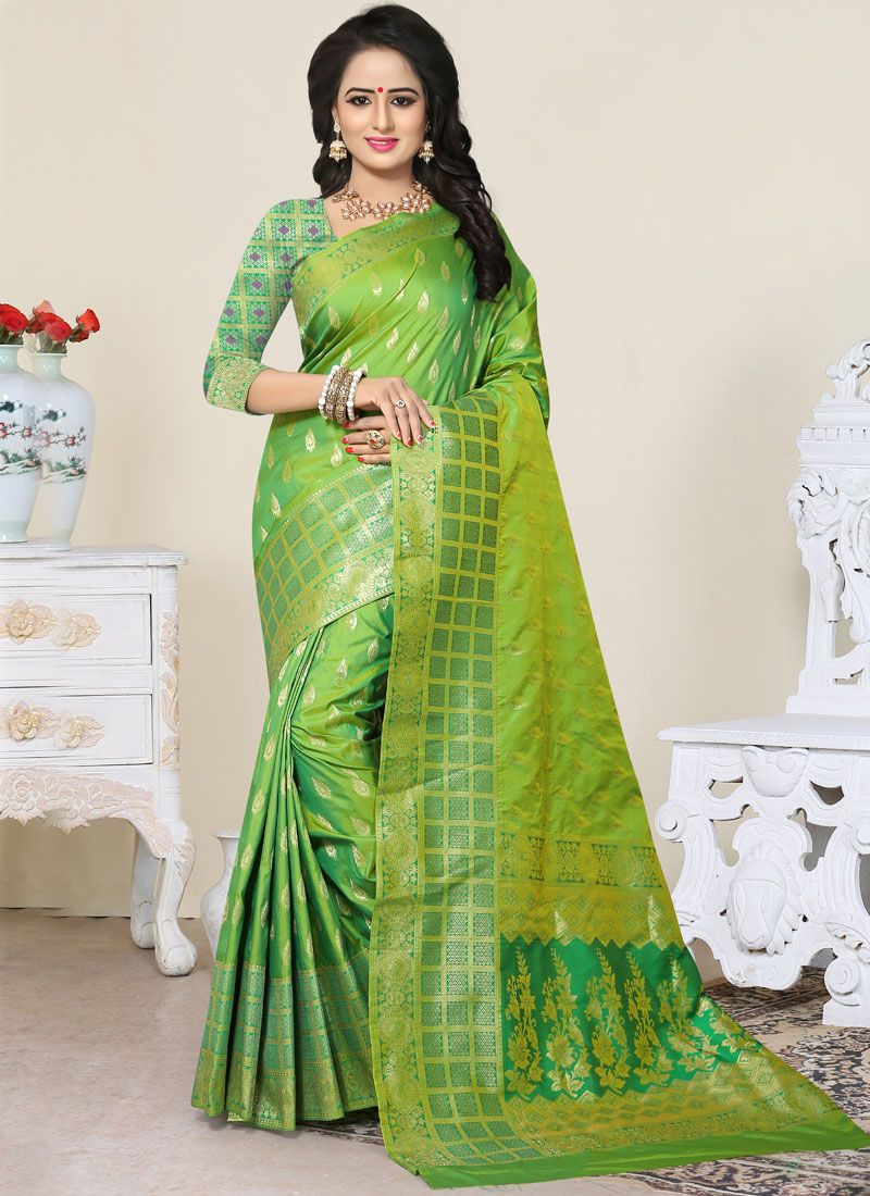 Banarasi Silk Green Designer Traditional Saree