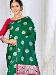 Banarasi Silk Green Weaving Traditional Saree