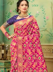 Banarasi Silk Hot Pink Casual Saree