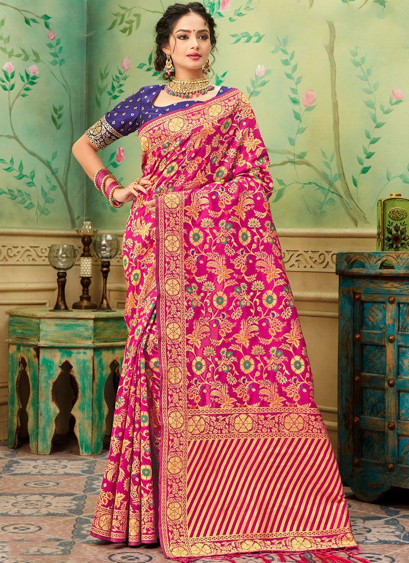 Banarasi Silk Hot Pink Casual Saree
