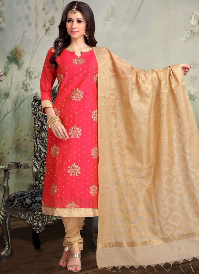 Banarasi Silk Hot Pink Embroidered Churidar Designer Suit