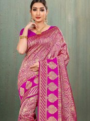Banarasi Silk Magenta Woven Traditional Saree