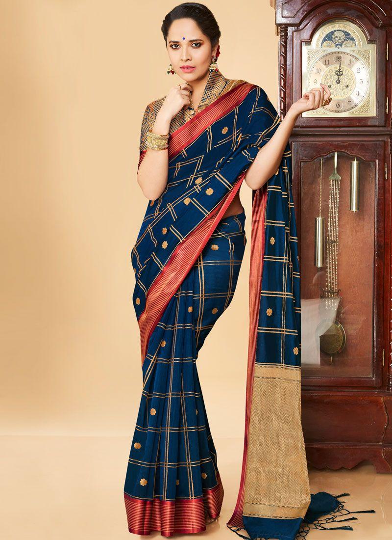 Banarasi Silk Navy Blue Weaving Classic Saree