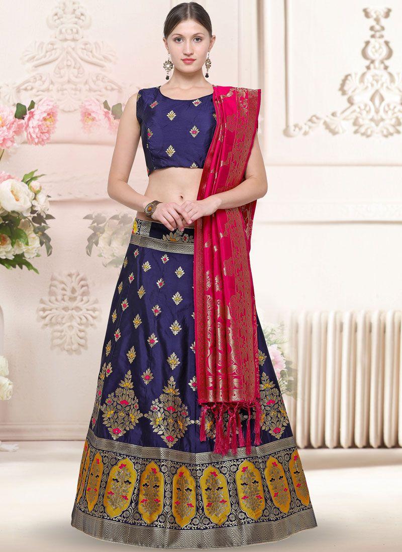 0cdd8eab7f Shop Banarasi Silk Navy Blue Weaving Trendy Lehenga Choli Online : 115114 -
