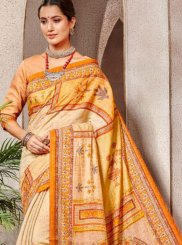 Banarasi Silk Orange and Yellow Classic Saree