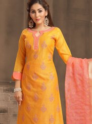 Banarasi Silk Orange Churidar Salwar Kameez
