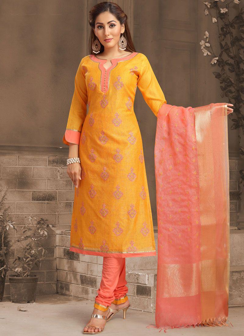 Banarasi Silk Orange Churidar Salwar Kameez