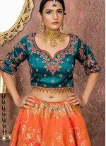 Banarasi Silk Orange Designer Lehenga Choli