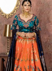 Banarasi Silk Orange Designer Lehenga Choli