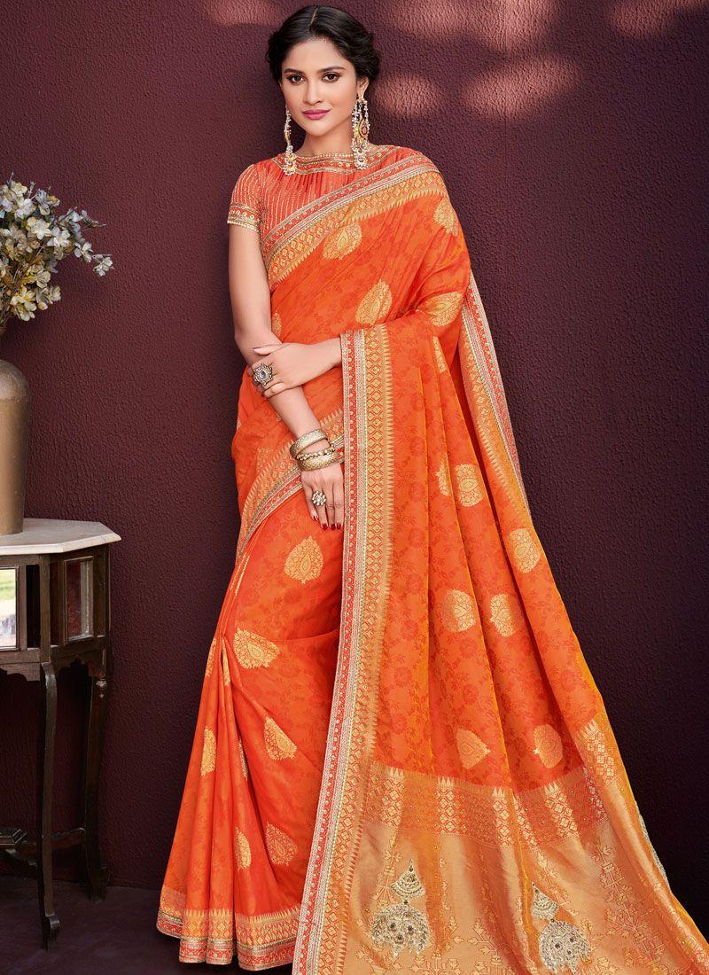 c30d94279c Banarasi Silk Orange Embroidered Designer Saree buy online -